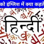 हिंदी को इंग्लिश में क्या कहते हैं